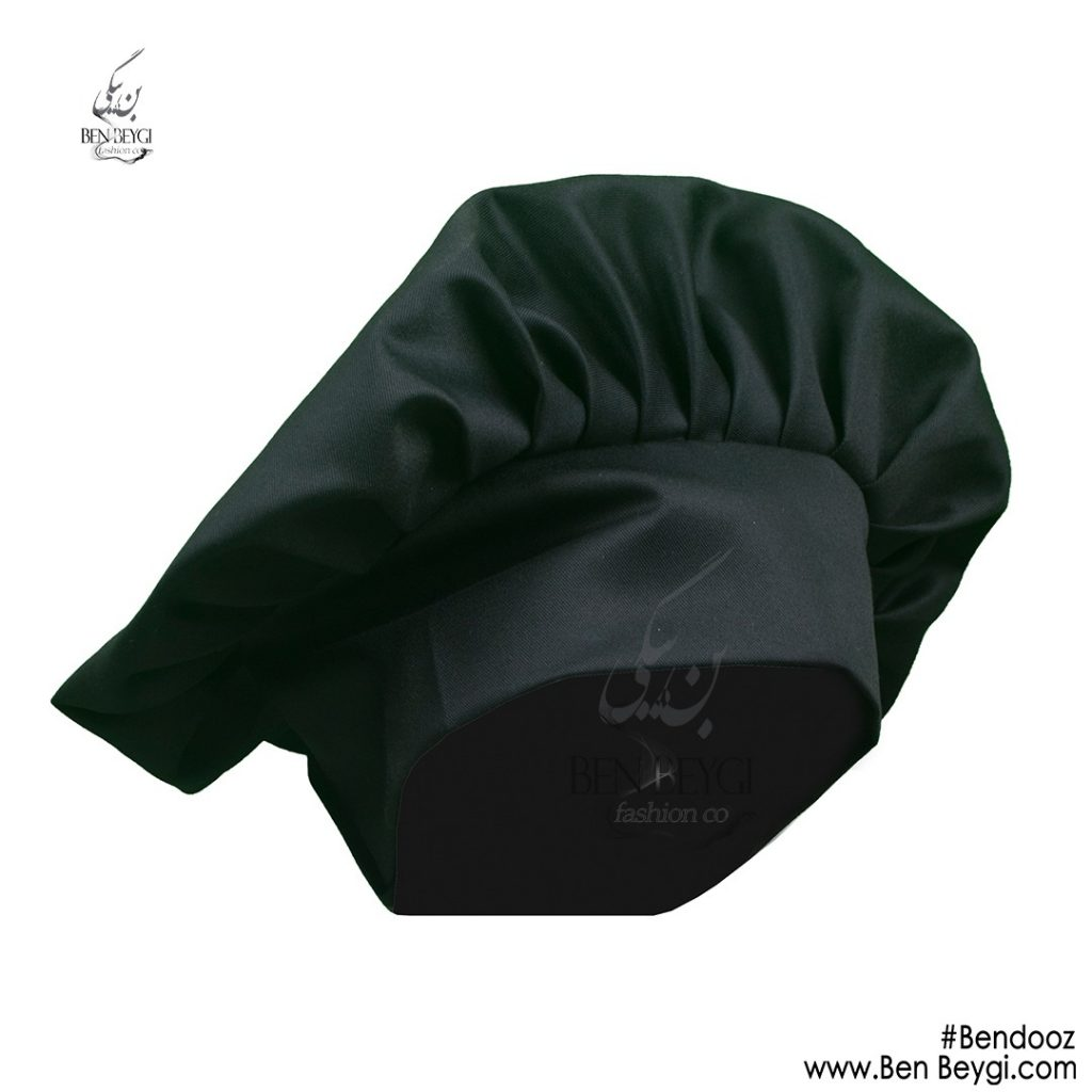 کلاه آشپزی مشکی کد ira6470 با بندوز