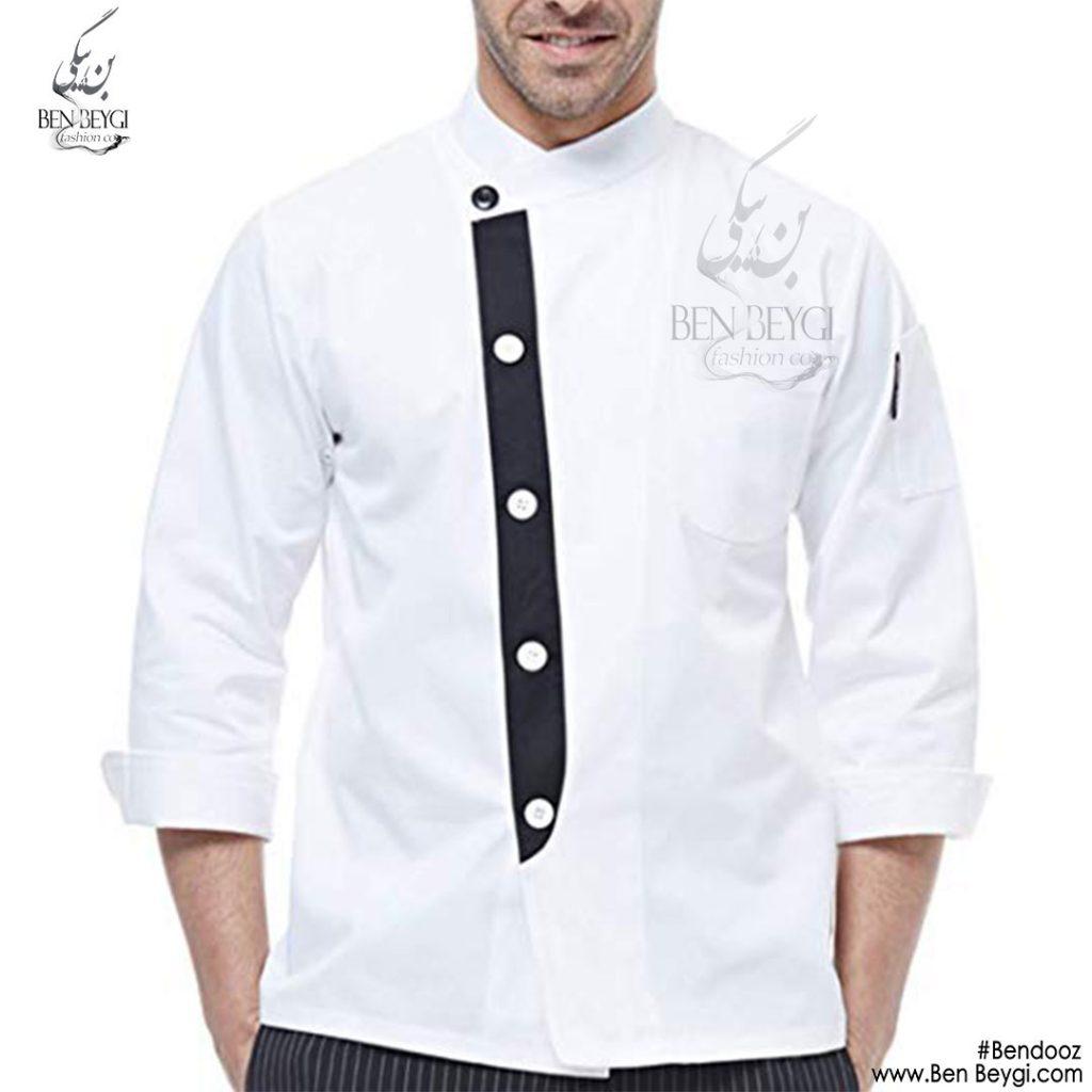 پیراهن-اشپزی-استین-کوتاه-مدل-دار-سفید