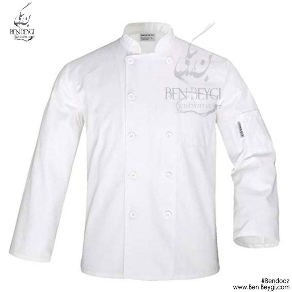 پیراهن-اشپزی-ده-دکمه-سفیدساده--استین-بلند