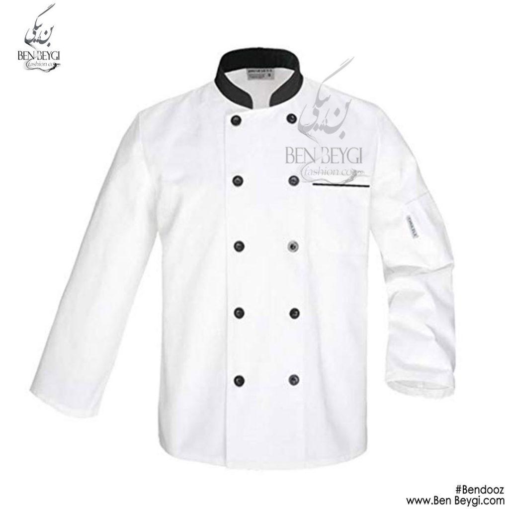 پیراهن-اشپزی-ده-دکمه-سفید-استین-بلند-3