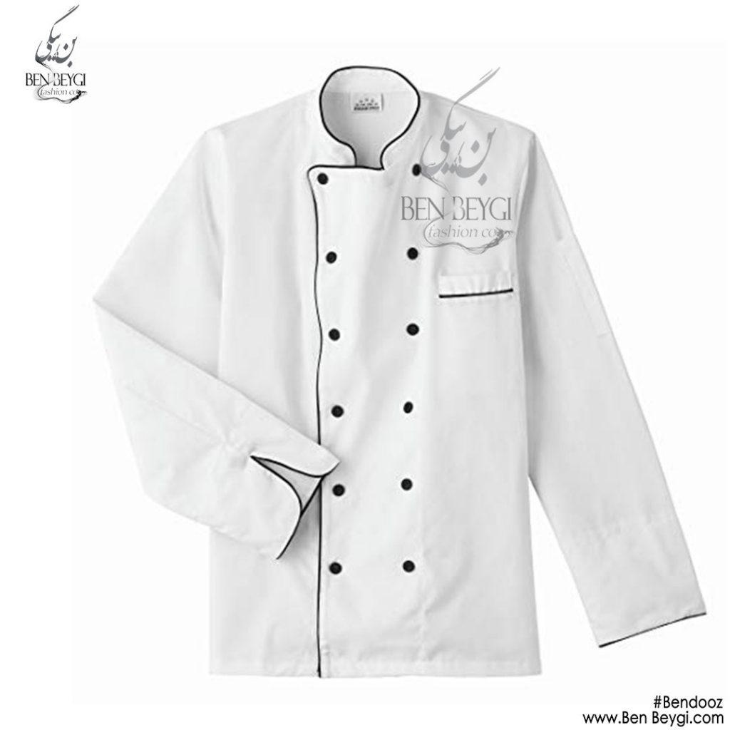 پیراهن-اشپزی-ده-دکمه-سفید-استین-بلند-4