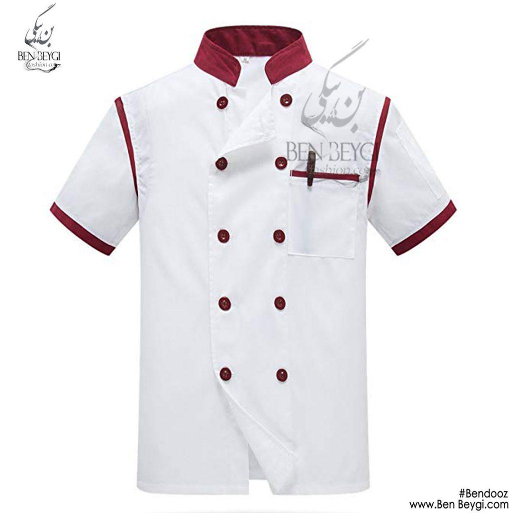 پیراهن-اشپزی-ده-دکمه-سفید-دکمه-قرمز-استین-کوتاه
