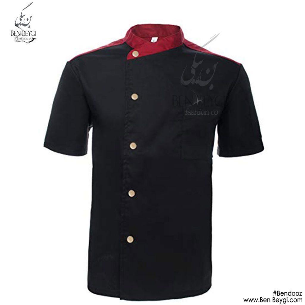 پیراهن-اشپزی-دو-ردیف-دکمه-استین-کوتاه-یقه-قرمز