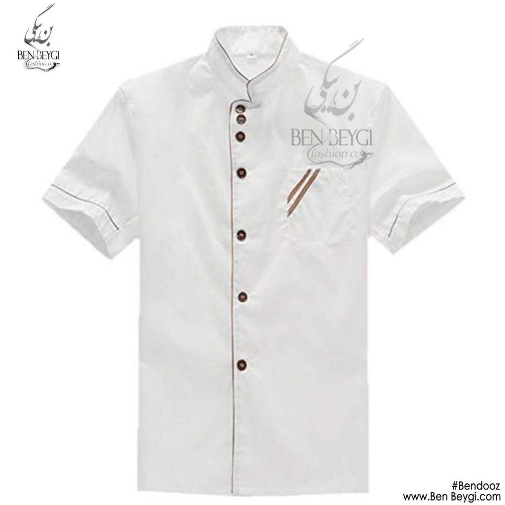 پیراهن-اشپزی-سفید-ساده-استین-کوتاه