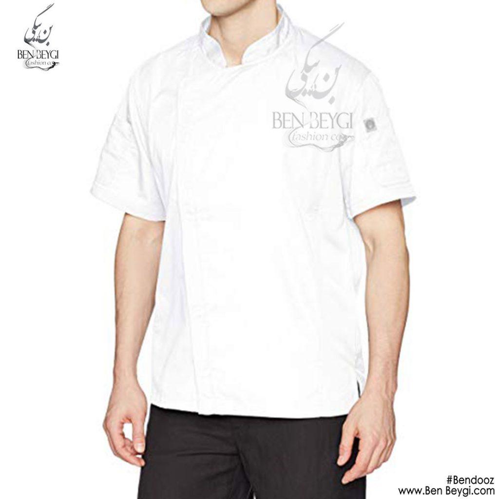 پیراهن-اشپزی-سفید-ساده-استین-کوتاه1