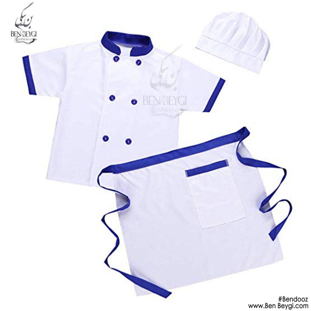 پیراهن-ده-دکمه-سفید-استین-کوتاه-با-پیشبند