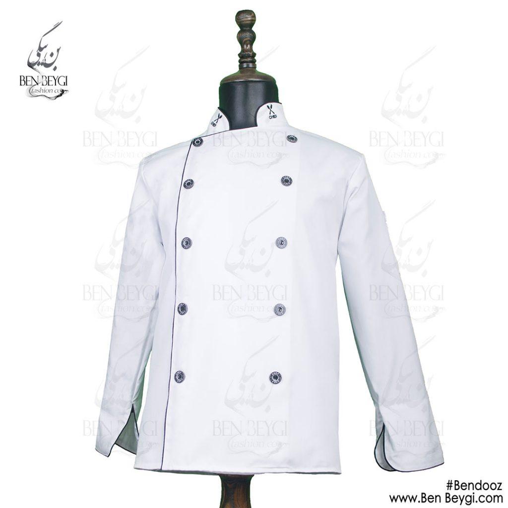 پیراهن-سرآشپزی-سفید-با-بندوز[www.benbeygi.com]